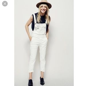 Trendy free people white overalls
